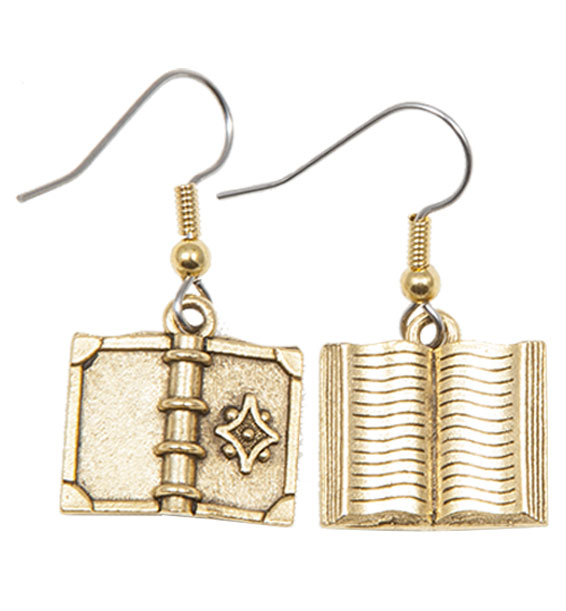 Book Earrings with Flower Gold