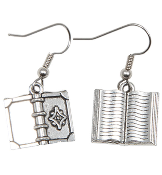 Book Earrings with Flower Silver