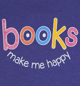 books make me happy tshirt heathered purple closeup
