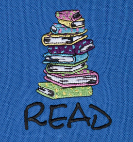 embroidered stacked books pique polo closeup blue