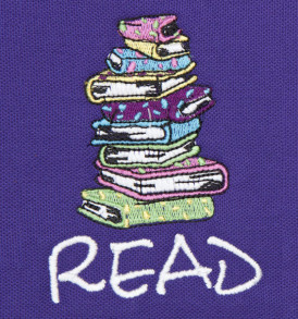 embriodered stacked books pique polo closeup purple