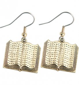 large open book earrings gold