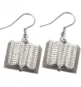 large open book earrings pewter