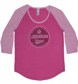 librarian read baseball tshirt super soft pink