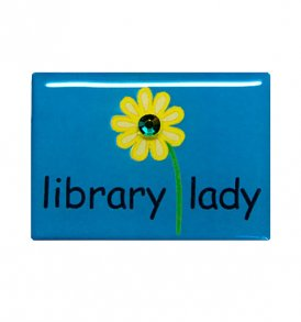 library lady pin teal