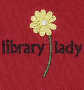 library lady polo closeup red