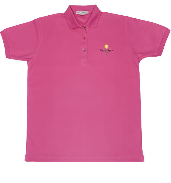 pink read polo