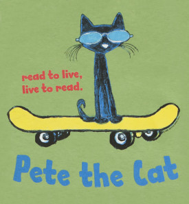 read to live liv to read pete the cat on skateboard youth tshirt green closeup