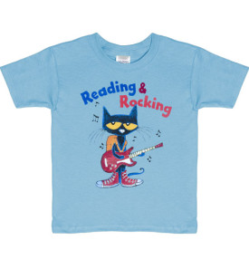 reading & rocking pete the cat youth tshirt