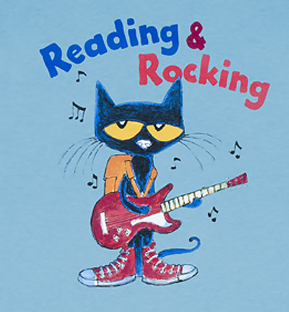 reading and rocking pete the cat youth tshirt sky closeup
