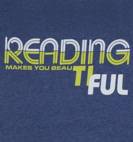 reading makes you beautiful heathered blue closeup