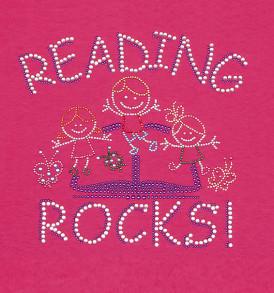 rhinestone reading rocks tshirt closeup pink
