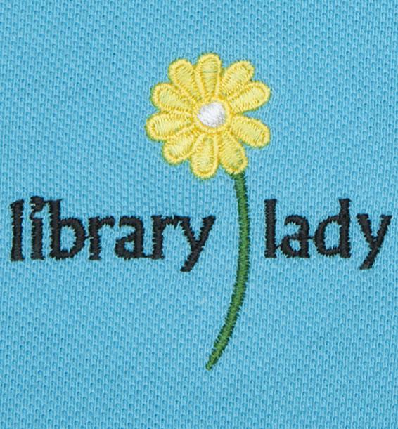 short sleeve embroidered library lady polo aqua closeup