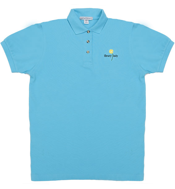 short sleeve embroidered library lady polo aqua