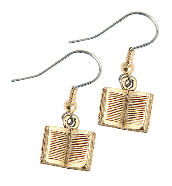 small open book earring gold
