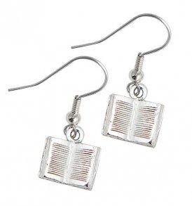 small open book earrings pewter