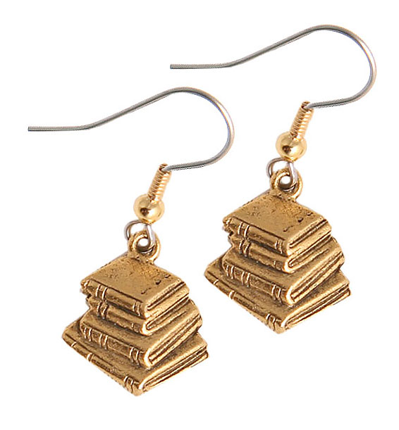 stacked book earrings gold