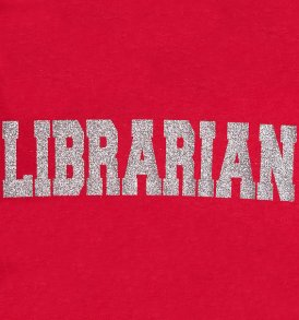 silver sparkle librarian sports tee red closeup