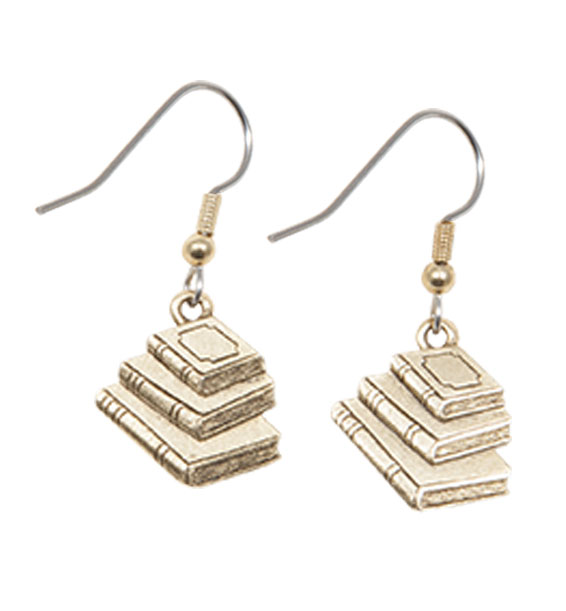 Book Earrings Gold