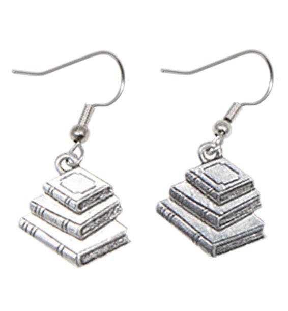 Book Earrings Silver
