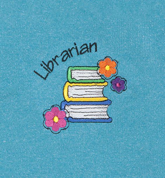 Librarian Flowers Heathered Aqua Closeup