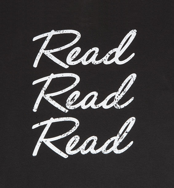 Read Read Read Black Heathered Charcoal Closeup