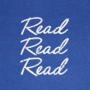 Read Read Read Charcoal Heathered Royal Closeup