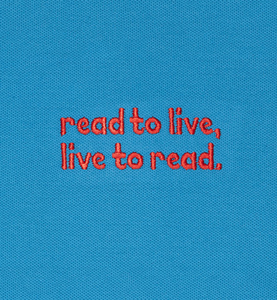 read to live live to read Turquoise closeup
