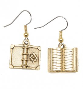 Book-Earrings-with-Flower-Gold