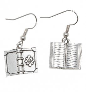 Book-Earrings-with-Flower-Silver