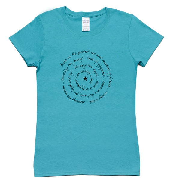 books are ladies short sleeve tee turquoise