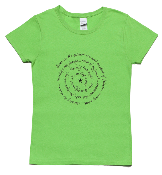books are ladies short sleeve tee lime