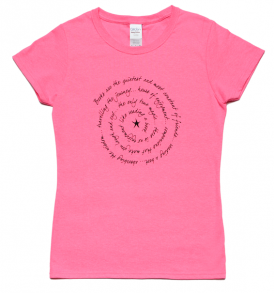 books are ladies short sleeve tee neon pink