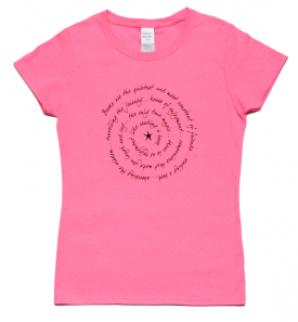 books are ladies short sleeve tee neon pink