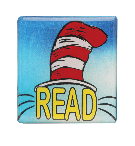 cat in the hat blue pin