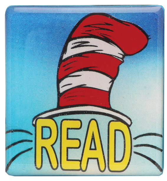 Adorable Cat in the Hat Pin Accented in Blue