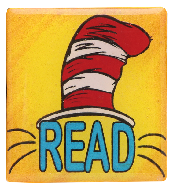 Adorable Cat in the Hat Pin Accented in Yellow