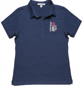 Ladies Y-Neck Polo with Librarian, Books, Laptop Design