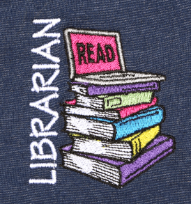 Librarian Read Laptop Stacked Books Polo Design