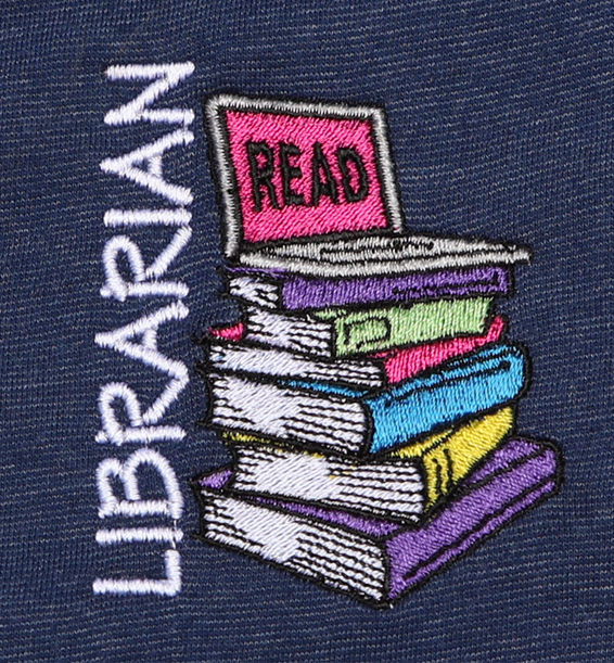 Librarian Read Laptop Stacked Books Polo