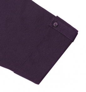 Purple read polo sleeve closeup