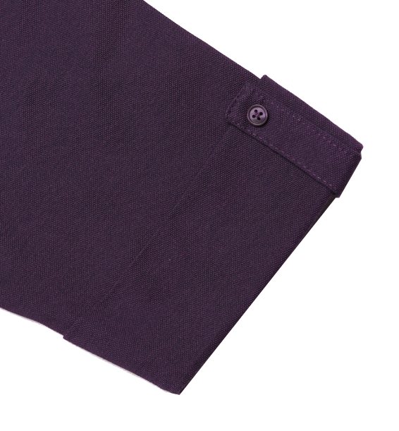 Purple read polo sleeve closeup