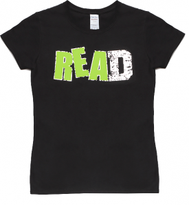 """""""READ"""" with a Green Ink and Foil Design Short Sleeve T-Shirt"""