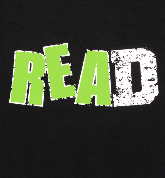 """READ"" with a Green Ink and Foil Design Short Sleeve Design"