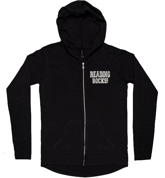 Reading Rocks Ladies Lightweight Full-Zip Hoodie Black