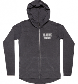 Reading Rocks Ladies Lightweight Full-Zip Hoodie Charcoal