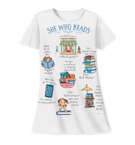 she who reads sleep shirt white
