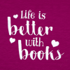 life is better with books hearts design pink