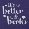 life is better with books hearts design purple