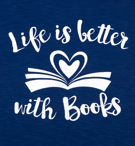 life is better with books open book design blue